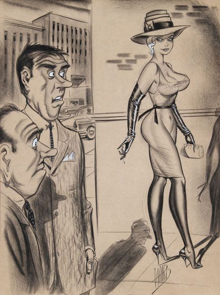bill ward gawkers sexy cartoon illustration drawing