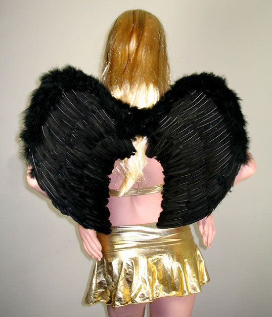 LARGE Adult Black Feather Angel Wings Cosplay FREE HALO L Men women