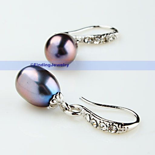 Black Pearl & Swarovski Crystal Drop Earring  LOW PRICE HIGH QUALITY