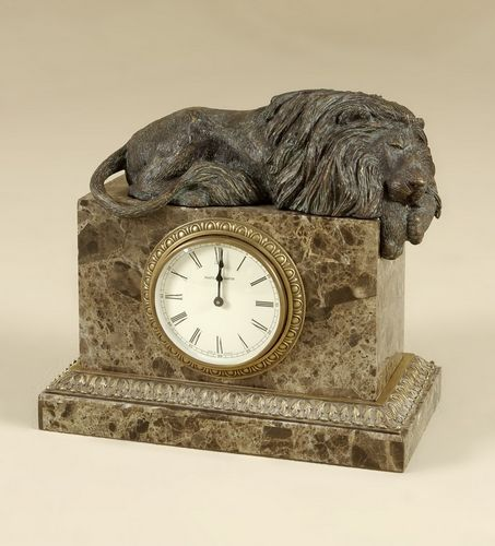 Maitland Smith Brass Lion Stone Inlaid Clock