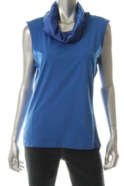 Hugo Boss New Blue Satin Cowl Neck Sleeveless Tank Top Shirt XL BHFO