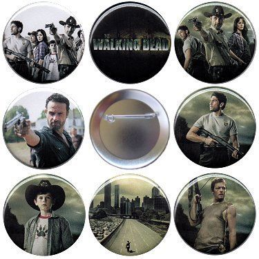 The Walking Dead S1 Set of 8 Pinback Buttons Badges Zombie Show Pins