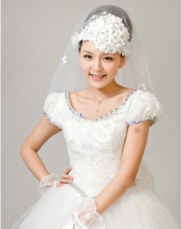 New Style Wedding Veil Communion Ivory Veils Bridal Flowers Rhinestone