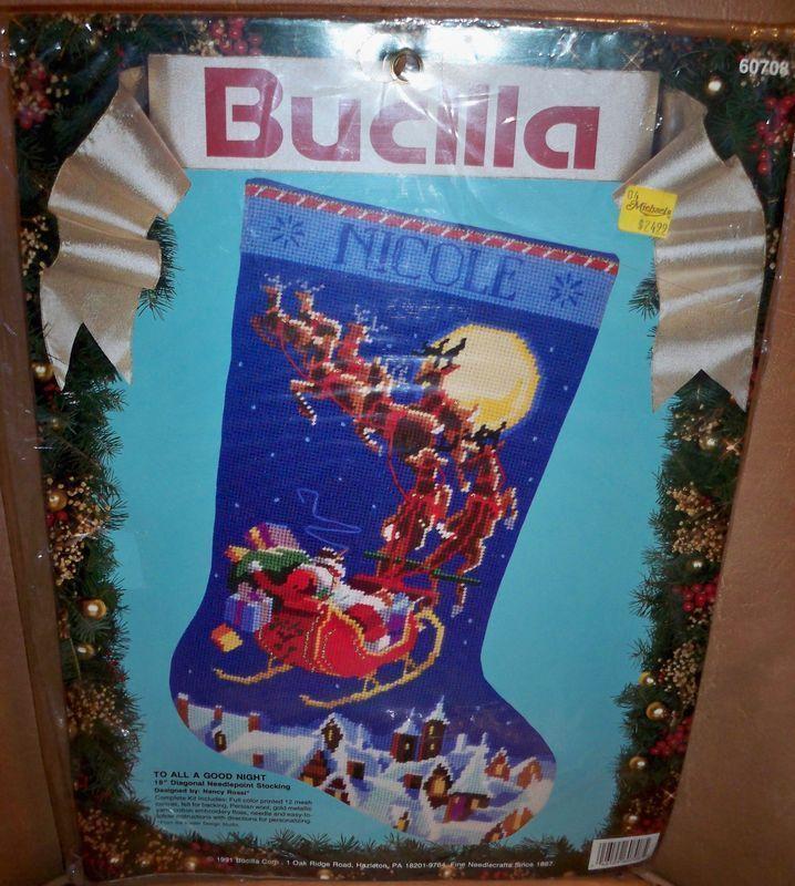 New Bucilla Needle Point Stocking Kit All A Good Night