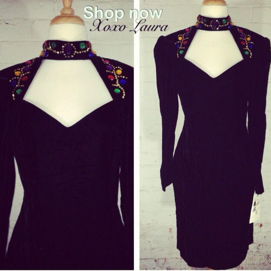Vintage Dress Black Velvet With Multi Color Jewels Glitter Avant Garde