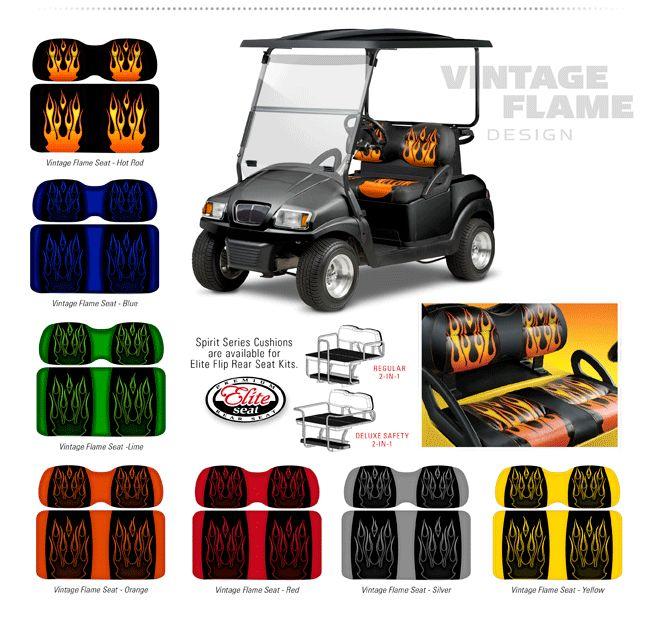 Golf Cart Seats EZGO TXT Custom Doubletake Vintage Flame hot rod