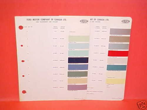 1960 Ford Thunderbird Paint Chips Color Chart Canada
