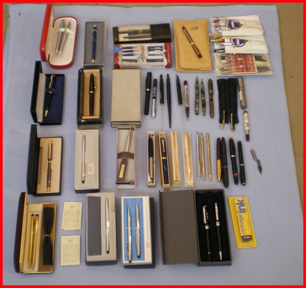 Mixed Lot 60 Plus Pens Pencils Cross Sheaffer Sharp Michael Fina USA