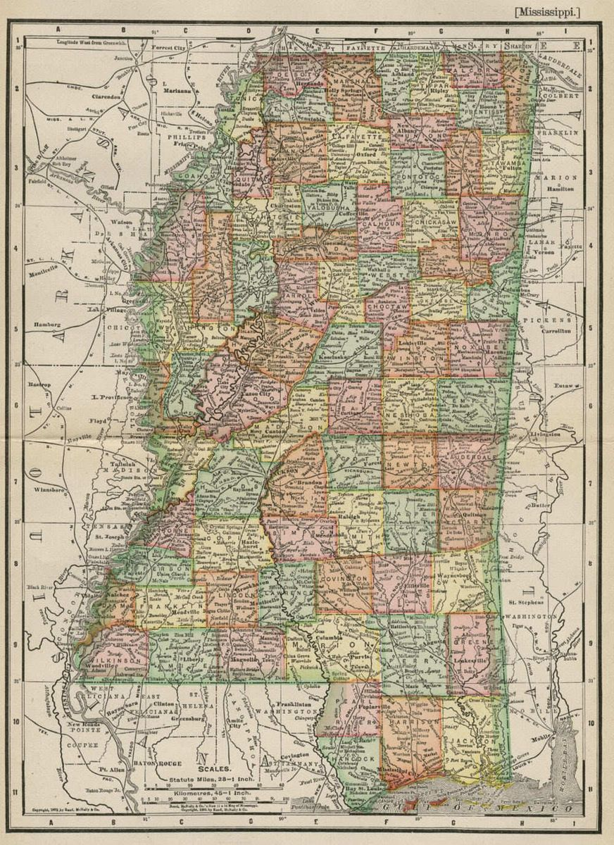 Map Authentic 1895 Counties Cities Towns Railroads Topography