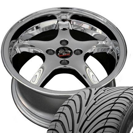 17 Cobra Style 4 Lug Deep Dish Chrome Wheels 17x8 Rims Fit Mustang®