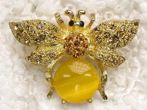 Yellow Rhinestone Crystal Bumblebee Bee Pin Brooch C421