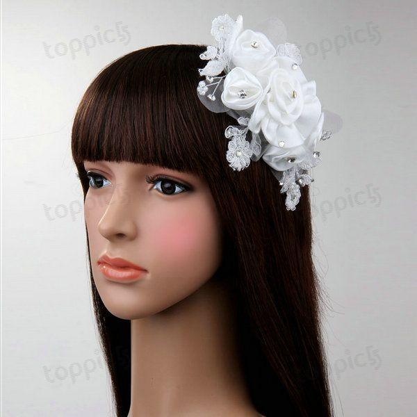 Organza Flower Pearl Rhinestone Crystal Bridal Wedding Tiara Hair Comb