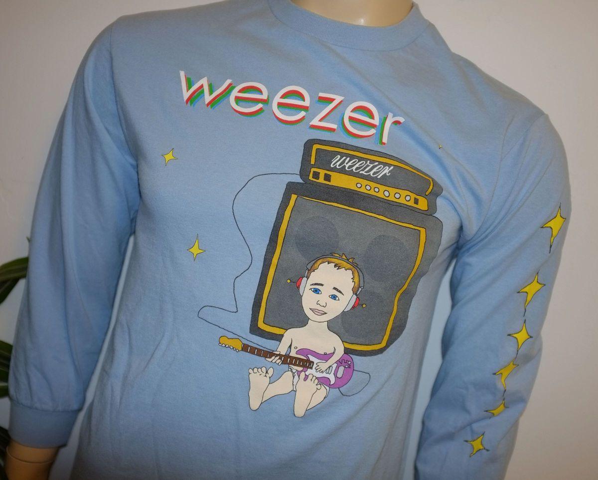 2002 WEEZER* vtg rock band concert tour L/S t shirt (M) Rivers Cuomo