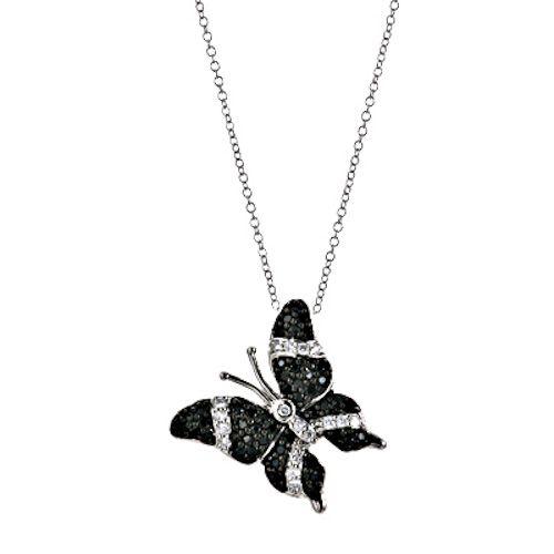 Silver Black CZ Cubic Zirconia Butterfly Charm Pendant Necklace 18