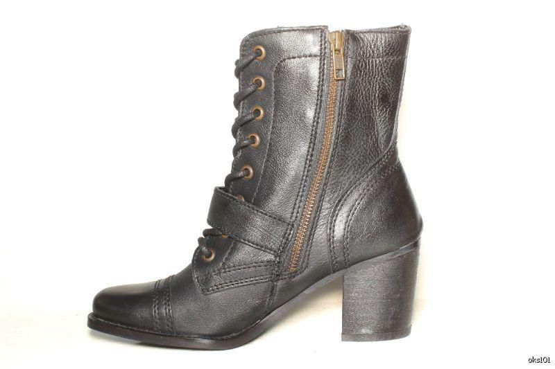 New Steve Madden Devlin Granny Black Leather Lace Up Zipper Boots