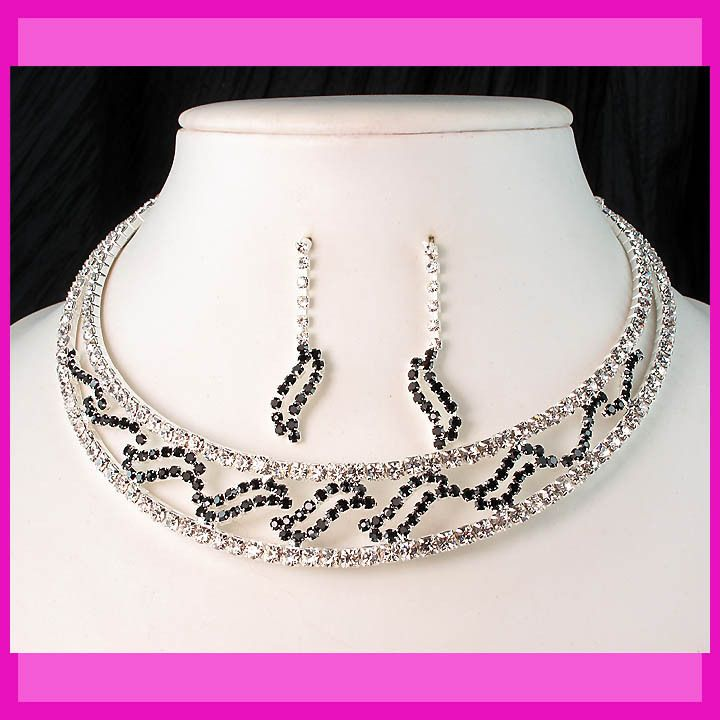 Bridal Bridesmaids Wedding Black Diamante Crystal Choker Necklace