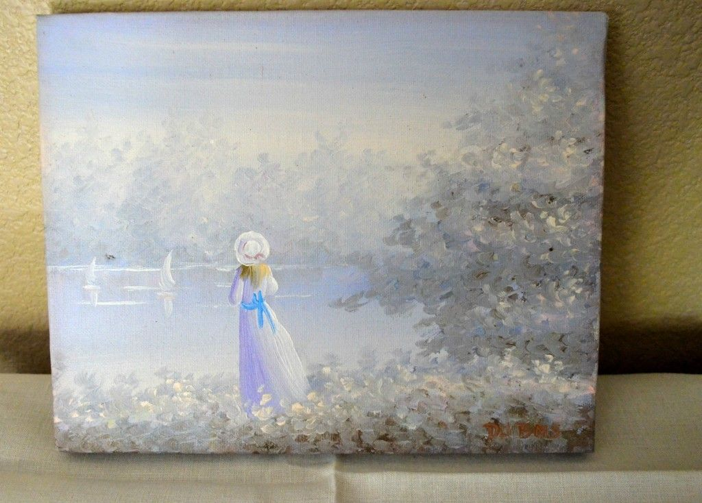 Original Du Bois Oil Painting Lady on The Lake