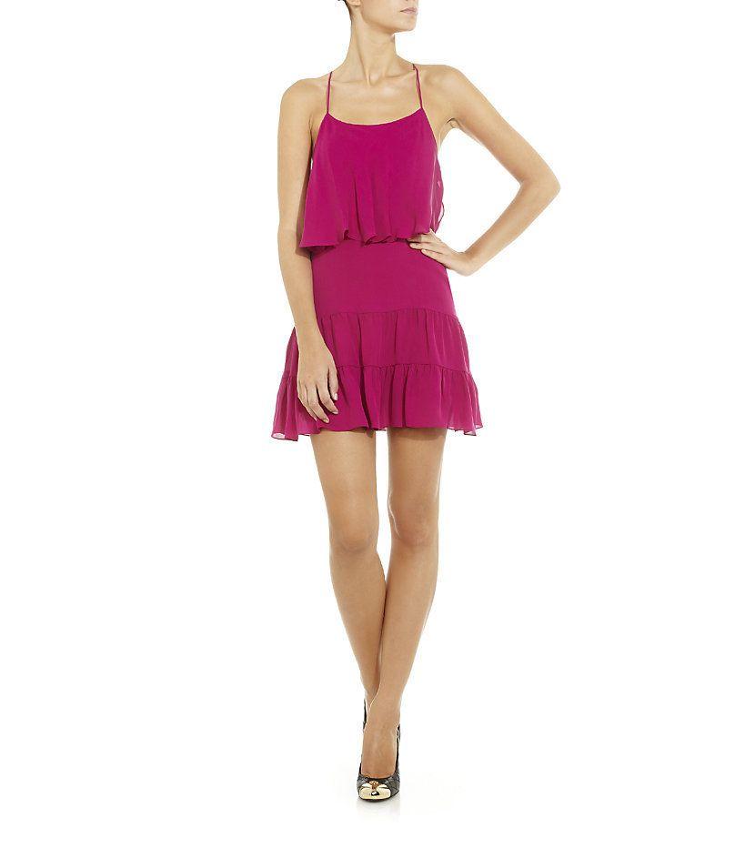 Auth New $365 Haute Hippie Ruffle Mini Silk Tank Dress in Magenta XS S