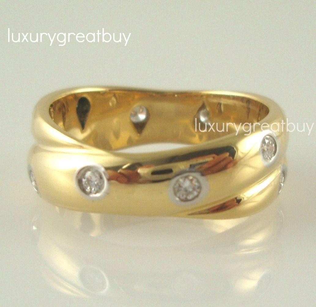 Tiffany Co 18K Gold Platinum Diamond Etoile Twist Ring $2500