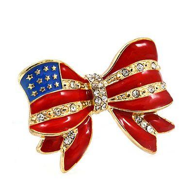 American Flag Crystal Rhinestone Ribbon Bow Stretch Ring Gold