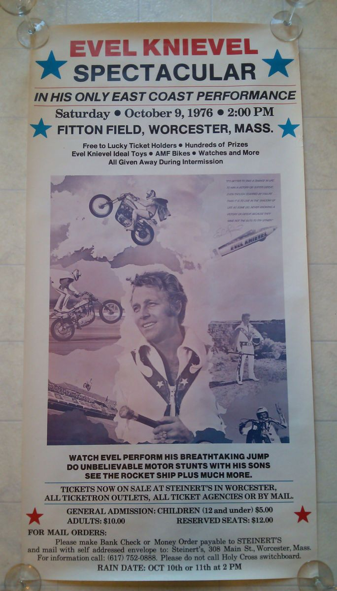 1976 ORIGINAL EVEL KNIEVEL POSTER Fitton Field Worcester MA Holy Cross