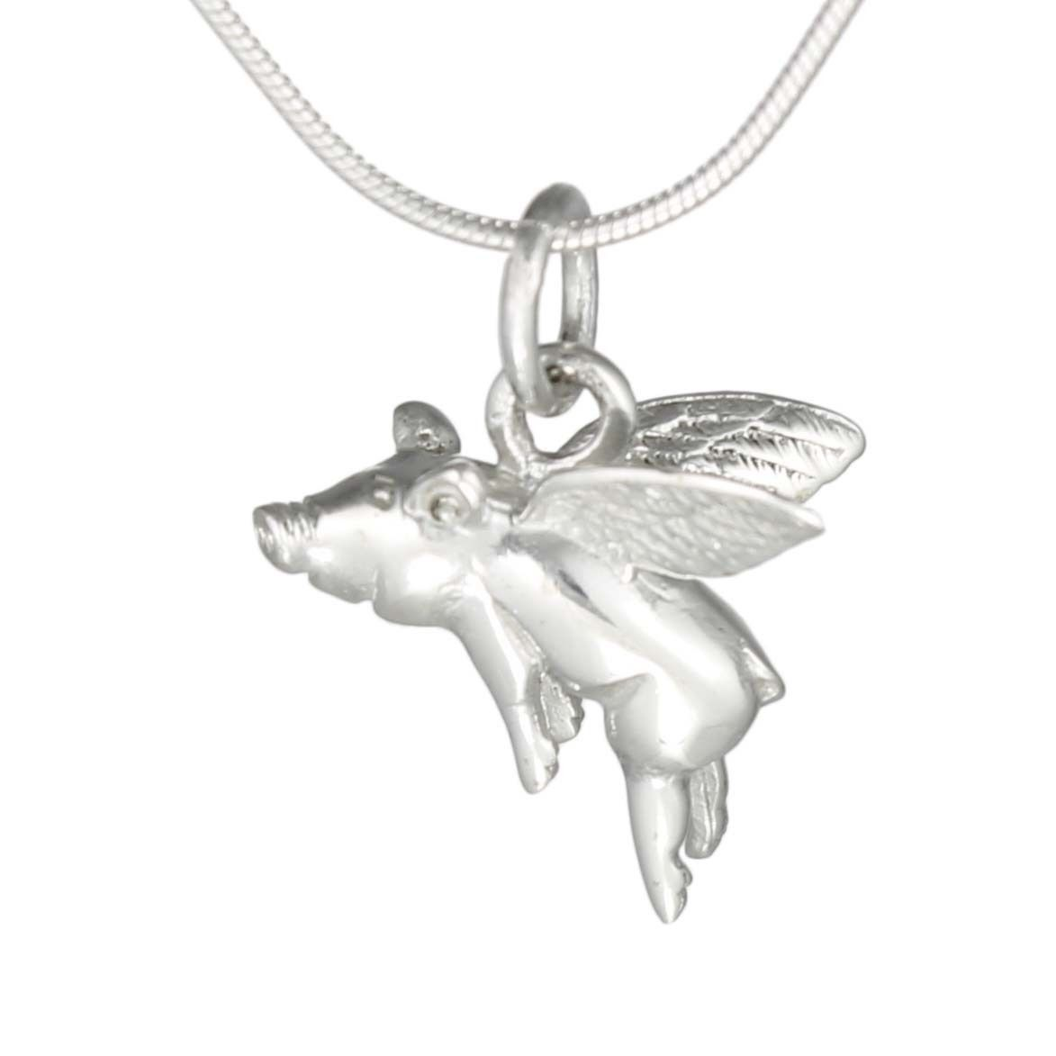 WHEN PIGS FLY Flying Pig Charm Pendant Necklace 925 Sterling Silver