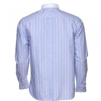 Fred Perry Light Smoke Blue Candy Stripe Long Sleeve Oxford Shirt