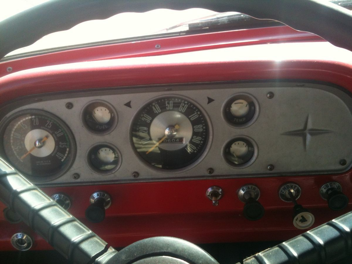 1957 Ford 7 Gauge Instrument Cluster Big Job F800 Tach Great Condition Chevy Truck