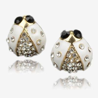 Gallant Ladybird White Gold Plated GP Swarovski Crystal Stud Earrings