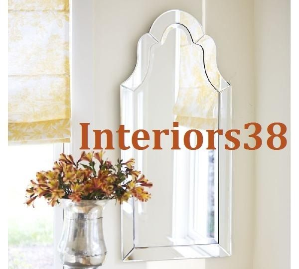 Large 42 Frameless Wall Mirror Beveled Arched Arch Bathroom Pottery