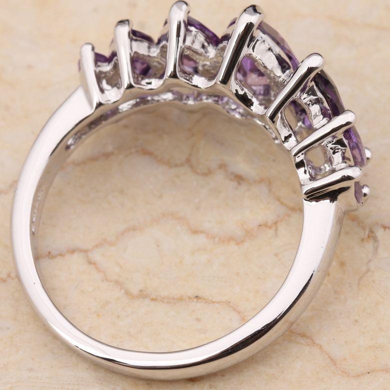 10mm Purple Amethyst Gemstones 18K Gold Filled Fashion Jewelry Rings