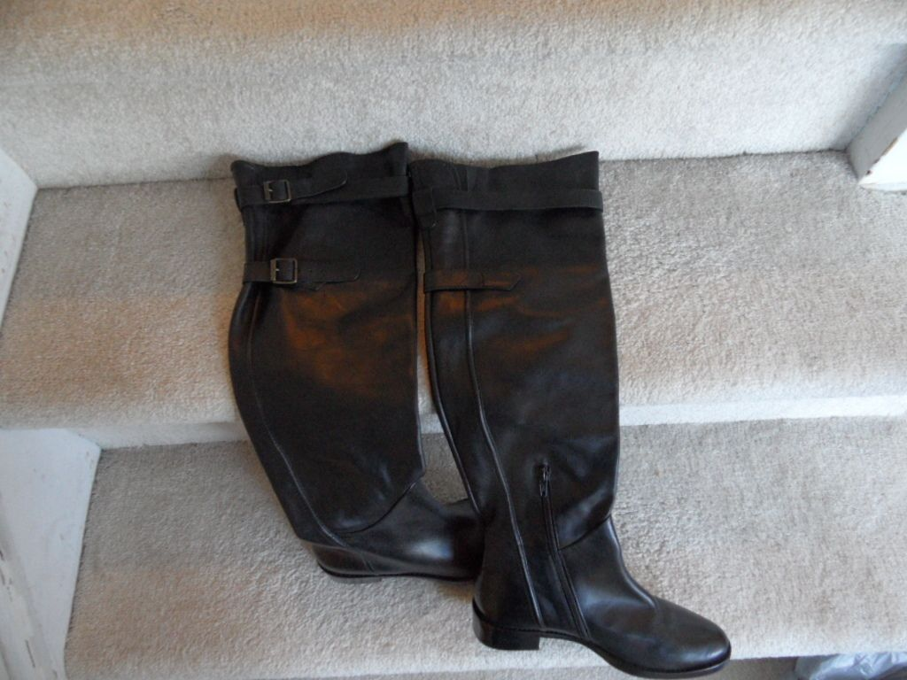 Steven by Steve Madden Lapeeps Black Leather Boots size 6 5 NWOB