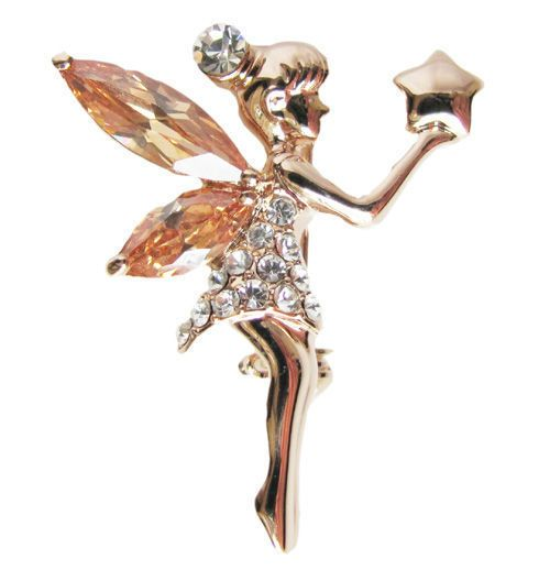 Star angel brooch pin gold GF Authentic swarovski crystal