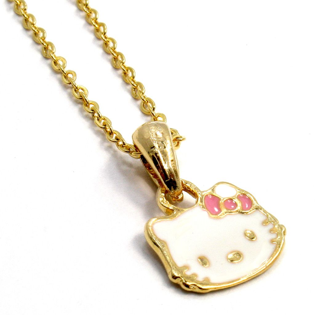 Gold 18K GF Bow Baby Pink Hello Kitty Face Girl Infants Pendant Charm
