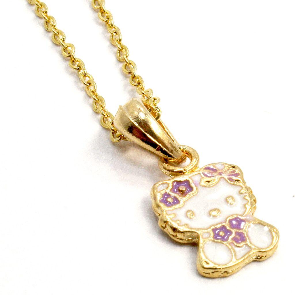 Gold 18k GF Baby Girl Kids Purple Flower Hello Kitty Charm & Chain