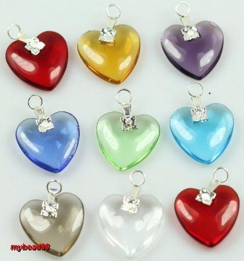 30pcs Mixed Color Glass Crystal Heart Pendants 24mm