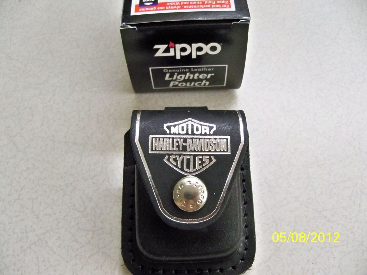 Harley Davidson silver bar & shield black leather lighter zippo case