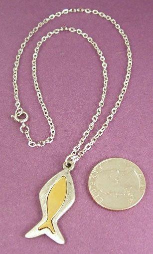 Vintage Fish Gold Silver Tone Choker Pendant Necklace