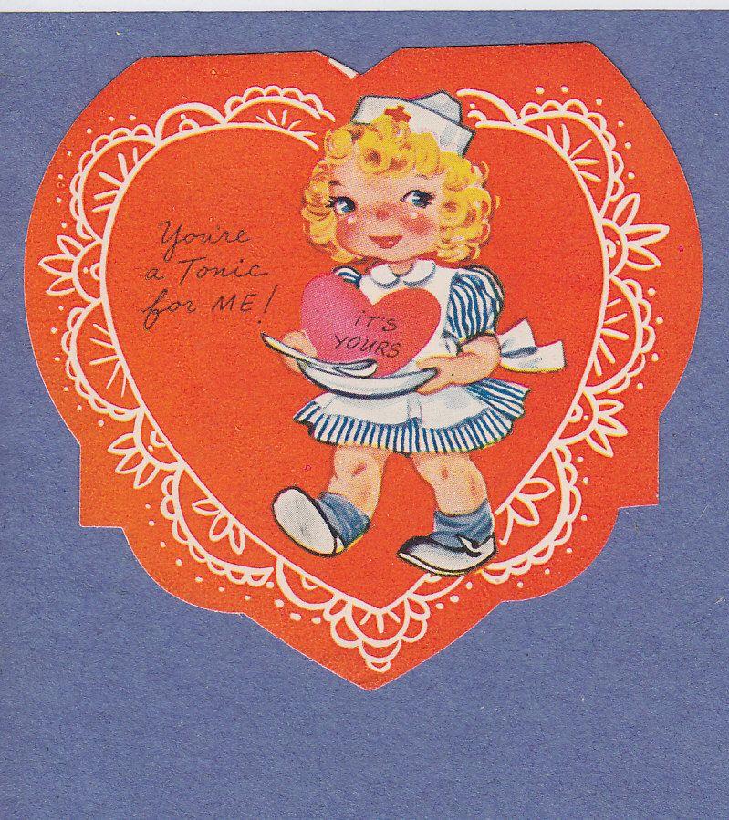 0212 Vintage Valentine Card Medical Nurse Serves Big Heart as Medicine