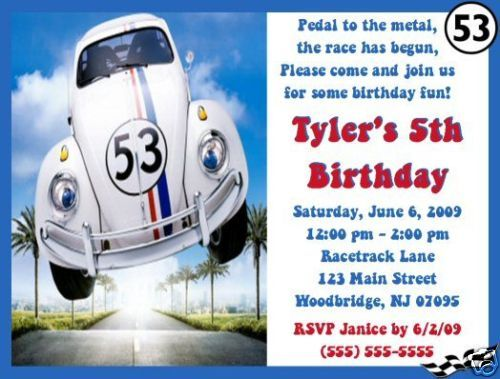 Herbie The Love Bug Invitations Birthday Party Supplies