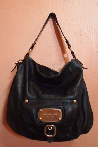 authentic MICHAEL KORS black Leather Hudson Downtown Handbag large