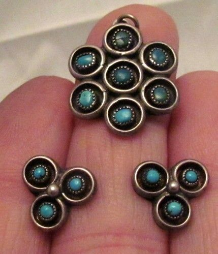 OLD ZUNI INDIAN STERLING SILVER TURQUOISE PENDANT & EARRINGS SNAKE EYE