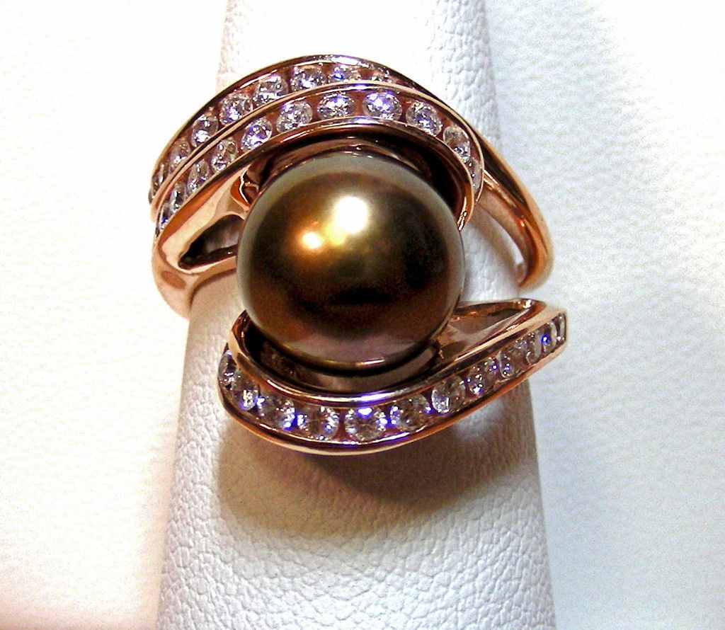 Na Hoku 14K Rose Gold Ring Set with Chocolate Tahitian Pearl and