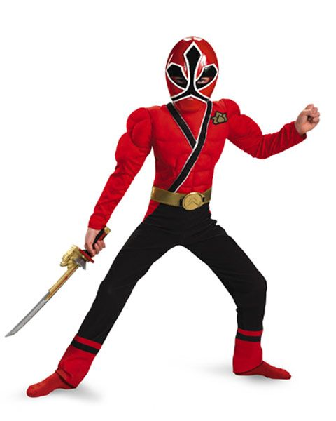 Classic Muscle Red Power Ranger Samurai Boys Costume