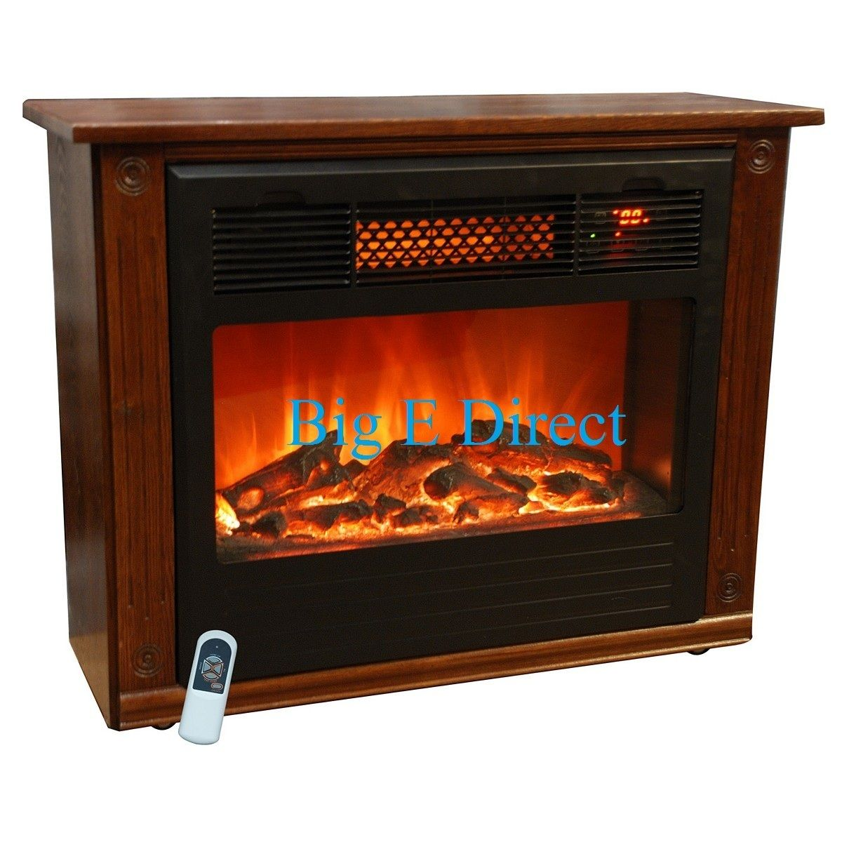 Compact Electric Room Infrared Quartz Fireplace Portable Heater Remote