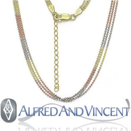 14k Yellow Rose Gold Bead Link Chain Necklace Italy Italian