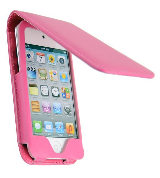 HOT PINK LEATHER FOLDING CASE COVER FOR APPLE IPOD TOUCH iTouch 4th