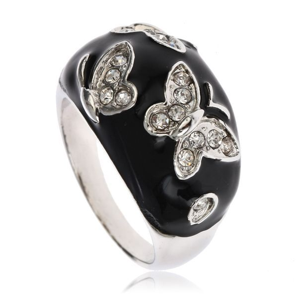 ARINNA Lovely Butterfly Cocktail Fashion Ring 18K WGP Swarovski Clear