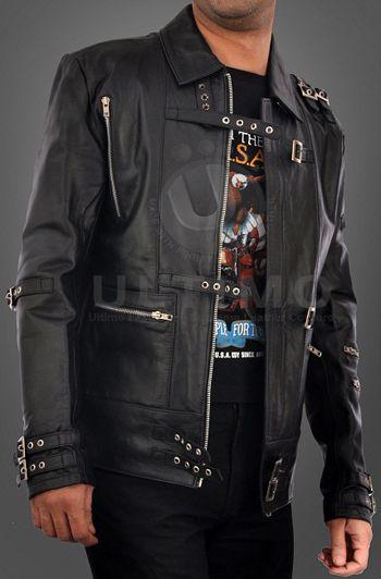Michael Jackson Bad Punk Black Cow Hide Leather Jacket