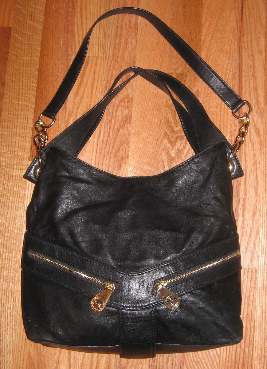 Michael Kors Jamesport Black Leather Large Shoulder Tote Bag